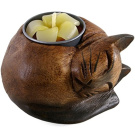 Curled Cat Wooden Tealight Holder, Multi-Colour