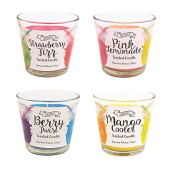 Invero® 4x Set of Vibrant Flavoured Cocktail Scented Wax Candles Includes Berry Burst, Pink Lemonade, Strawberry Fizz and Mango Cooler Scents - In Glass Pot, 30 Hours Burn Time Ideal for Home Kitchen Bars Work or Gift