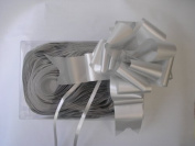 "10 x 50mm (2"") Rapid Satin Pull Bows - SILVER for Gift Decorations, Flower Bouquets & Arrangements, Baskets, Wedding Cars, Floral Tributes, Arts & Crafts, Christmas Hampers"