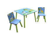 Liberty House Toys Safari Table and Two Chair Set, Wood, Multi-Colour