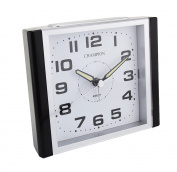 Classic Bold Traditional Large White Square Quartz Sweeping Non Ticking Alarm Clock with snooze