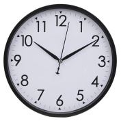Hippih 25cm Silent Quartz Decorative Wall Clock with Glass Cover Non-ticking Digital