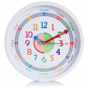 Time Teacher Wall Clock for Kids with Silent Non Ticking Sweep Quartz Mechanism - Easy to Read & Learn to Tell Time - 30cm Diameter - White
