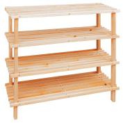 4 Tier Wooden Slatted Shoe Storage Rack