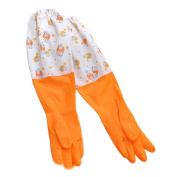 Gilroy 1 Pair Household Thickened Flannel Cleaning Dish Waterproof Washing Up Gloves - Orange L