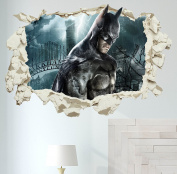 Batman in Wall Crack Kids Boy Bedroom Decal Art Sticker Xmas Gift Superheroes XXL