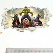 Avengers in Wall Crack Kids Boy Bedroom Decal Art Sticker Xmas Gift Superheroes New XXL