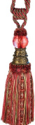 Xia Home Fashions Artisan Oversized Glass Ball Tassels, Rose Red