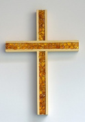 Beech Wood Cross with Amber Insert, approx 20x14 cm