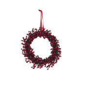 """Artificial Berry wreath with red ribbon for hanging, red - wine red, Ø18"""" / 45 cm - Plastic berry wreath / Decorative wreath - artplants"""