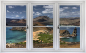 60cm Window Landscape Scene Nature View GALAPAGOS ISLANDS DAY #1 WHITE CLOSED Wall Sticker Room Decal Home Office Art Décor Den Mural Man Cave Graphic SMALL