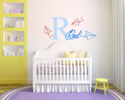 Personalised Name Paper Aeroplane - Boy Girl Unisex Baby - Wall Decal Nursery For Home Bedroom Children