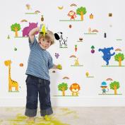 Wallpark Vegetables Fruits Cute Animals Lion Monkey Giraffe Bear Removable Wall Sticker Decal, Children Kids Baby Home Room Nursery DIY Decorative Adhesive Art Wall Mural