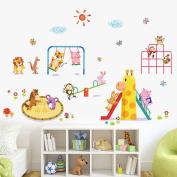 Wallpark Cartoon Animal Paradise Cute Lion Monkey Rabbit Owl Having Fun Removable Wall Sticker Decal, Children Kids Baby Home Room Nursery DIY Decorative Adhesive Art Wall Mural