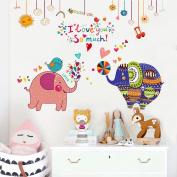 Wallpark Cartoon Cute Elephant Couple Removable Wall Sticker Decal, Children Kids Baby Home Room Nursery DIY Decorative Adhesive Art Wall Mural