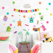 """Wallpark Cartoon Little Monster """"Happy Birthday"""" Gifts Balloon Removable Wall Sticker Decal, Children Kids Baby Home Room Nursery DIY Decorative Adhesive Art Wall Mural"""