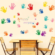 """Wallpark Creative Colourful Handprints English Proverbs """"Happy Everyday"""" Removable Wall Sticker Decal, Living Room Bedroom Home Nursery Decoration Adhesive DIY Art Wall Mural"""