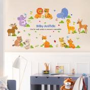 Wallpark Cartoon Animals Cute Giraffe Lion Cat Removable Wall Sticker Decal, Children Kids Baby Home Room Nursery DIY Decorative Adhesive Art Wall Mural