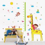 Wallpark Cute Cat Pig Giraffe Height Sticker, Growth Height Chart Measuring Removable Wall Decal, Children Kids Baby Home Room Nursery DIY Decorative Adhesive Art Wall Mural