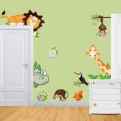 Wallpark Cute Animals Giraffe Lion Naughty Monkey Removable Wall Sticker Decal, Children Kids Baby Home Room Nursery DIY Decorative Adhesive Art Wall Mural
