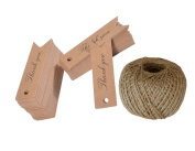 ACMEDE 100 PCS 'Thank you' Printed Kraft Hang Tags for Wedding Favours Paper Gift Tags with 30m Jute Twine