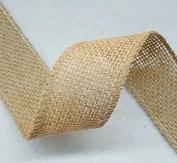 3.8cm Burlap Ribbon - 5 Yds - Finished Edge Wired - 100% Natural Jute Burlap Ribbon - Craft Decor Burlap Rustic Natural