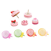 Shinywear Pink Decorative Pushpins Pictures Corkboard Wall Holders Thumbtacks Strawberry Cakes and Lollipop Design 9 Pieces Set
