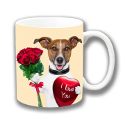 Jack Russell Dog Red Roses Love Heart Ceramic Coffee Mug Christmas Gift Stocking Filler