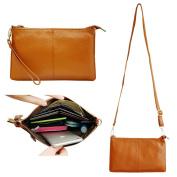 Belfen® Women's [Soft-Feel genuine Leather] Smartphone Leather Wristlet Crossbody Wallet Clutch with Crossbody strap/Wrist Strap-for Smartphone up to 14cm -Brown