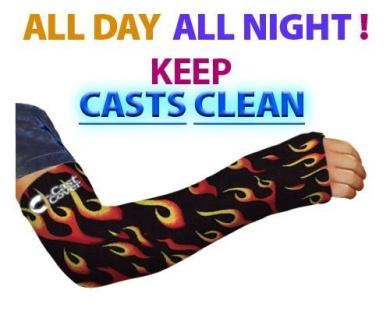 Arm Cast Cover - Black Flames (Long Arm) (Adult Large/XL)