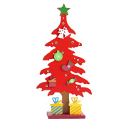 Drasawee DIY Wooden Tabletop Christmas Tree Miniature Ornaments Decorations Red