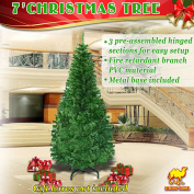 Green Artificial Christmas Tree 2.1m Spruce Pine Metal Stand Folding Realistic -1000 tips