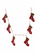 Christmas 1.5m Mitten Garland in Red & White Sweater Fabric with Fur Tops