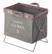 Azumaya Mail and Document Folding Storage Carry Basket Green MIP-89GR