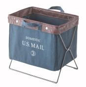 Azumaya Mail and Document Folding Storage Carry Basket Navy MIP-89NV