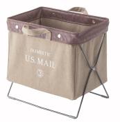 Azumaya Mail and Document Folding Storage Carry Basket Beige MIP-89BE