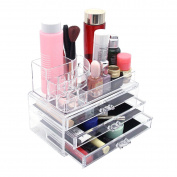 Mochiglory Acrylic Makeup Organiser Cosmetic Jewellery Storage Box Case 3 Drawer with Lipstick Stand