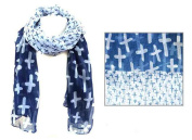 J & C Family Owned Inspirational Cross Theme Scarf Colour
