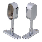 RDEXP Silver Zinc Alloy 16mm Dia Rod Flange Middle Support Closet Holder Pack of 2
