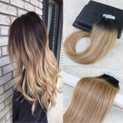 HairDancing Seamless Tape in Ombre Hair Extensions Glue in Balayage Colour #2 Darkest Brown Fading to #6 Medium Brown to #27 Honey Blonde Remy Premium Hair Extensions 50g 20Pcs 41cm