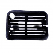 A Set of Stainless Steel Professional Acne Needle Acne Removing Tool Beauty Needle Blackhead Needle Beauty Mirror Make Up Tools with a Zipper Bag(Black)