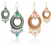 2LIVEfor Exquisite Earrings Ethnic Tear-drop Decorated Drop Earrings Bohemian Vintage Pink and Green Baroque