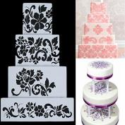 4pcs DIY Cake Cookie Flower Fondant Side Reusable Baking Stencil Wedding Decor