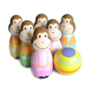 Wooden Monkey Bowling Skittles