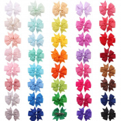 Diamondo 40 pcs Children Hairpins Fishtail Bow hair Clip Ribbon Alligator Clip for B