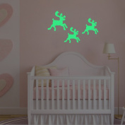 Christmas Elk Decorations Wall Decals Glow in the Dark, Home Moose Decor Window Stickers Art Mural for Baby Nursery Room