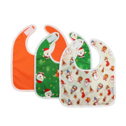 Hi Sprout Unisex Infant Toddler Baby Waterproof Bib with Crumb Catcher & Pocket 3 Pack, (6-24 Months) BB006