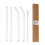 """Glass Straws Clear 9"""" x 9.5 mm Drinking Straws Reusable Straws Healthy, Reusable, Eco Friendly, BPA Free, 4 Pack With Cleaning Brush"""