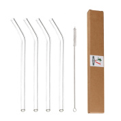 """Glass Straws Clear Bent 9"""" x 9.5 mm Drinking Straws Reusable Straws Healthy, Reusable, Eco Friendly, BPA Free, 4 Pack With Cleaning Brush"""