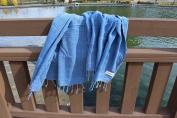 Bersuse 100% Cotton Troy Stonewash Handloom Pestemal Peshtemal Turkish Bath Towel Beach Fouta, 80cm x 170cm , Blue